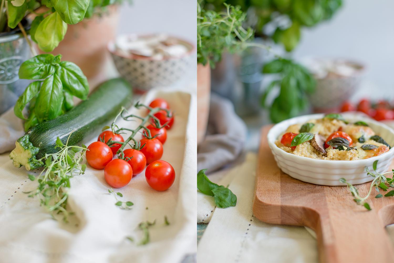 vegetarischer quinoa auflauf mit zucchini champignons. Black Bedroom Furniture Sets. Home Design Ideas