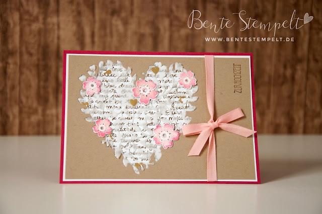Stampin Up Blühendes Herz Blooming Heart Framelits Blüten der  Liebe Blüten Designerpergament gold Baumwollband Kirschblüte Rosenrot Savanne Designerpapier Neutralfarben Schrift