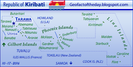 Kiribati map depicting major islands, atolls, and archipelagos and also the names of surrounding island territories