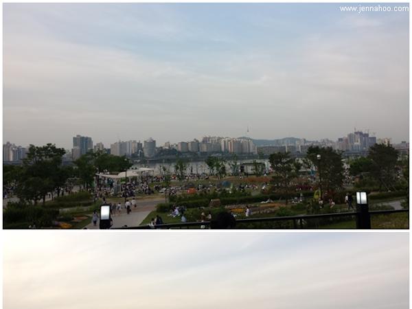 Yeouido Hangang Park ja jokiristeily Soulin keskellä