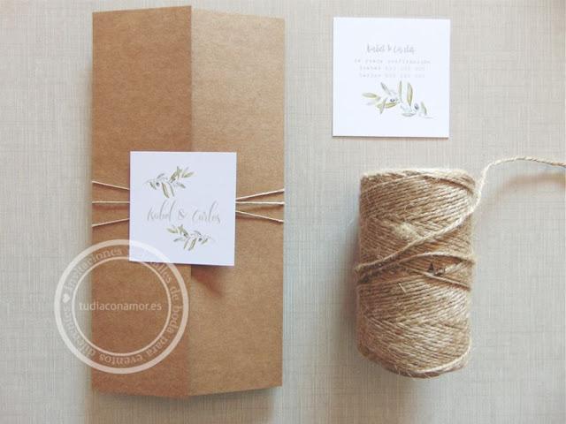 Invitaciones de boda sencillas y elegantes de estilo rústico provenzal