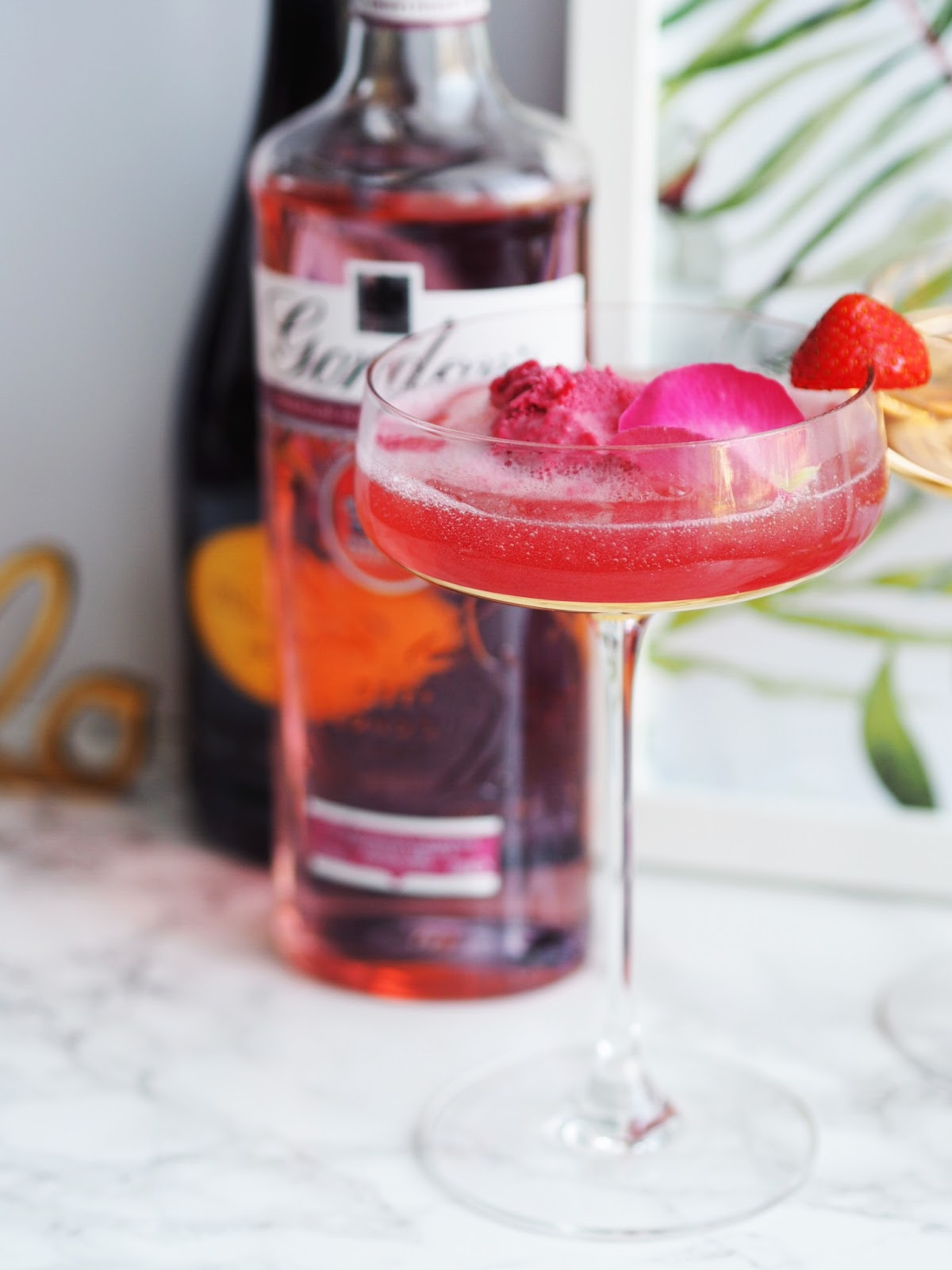 Gordons Pink Gin Fizz Cocktail Recipe with Tropical Background