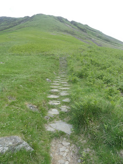 uphill path through grass in Scotland