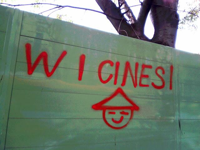 Scritta W i cinesi e disegno con una faccina di un cinese con il cappellino di paglia