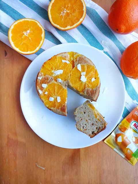 Odwrócone ciasto bananowe z pomarańczami, czyli upside down cake