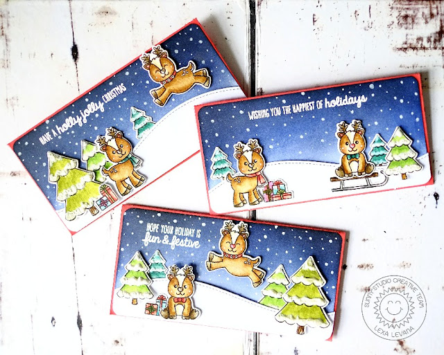 Sunny Studio Stamps: Gleeful Reindeer Money Pocket Christmas cards by Lexa Levana.