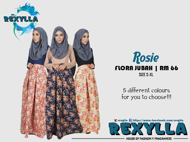 rexylla, flora jubah, rosie collection