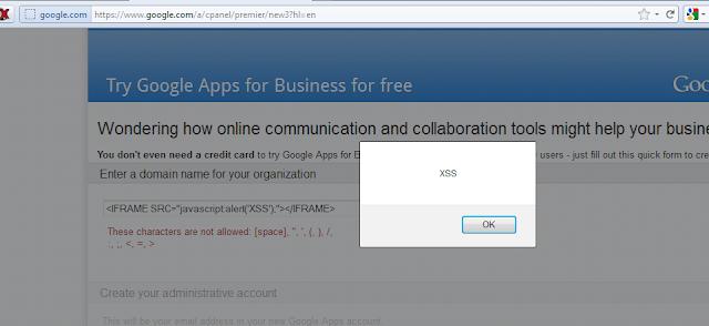 Cross Site Scripting (XSS) Vulnerability in Google