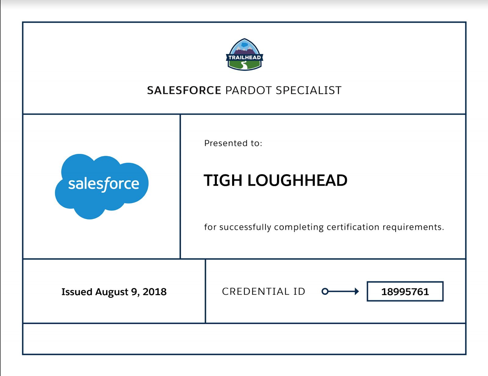 Tigh Loughhead is a Certified Salesforce Pardot Specialist