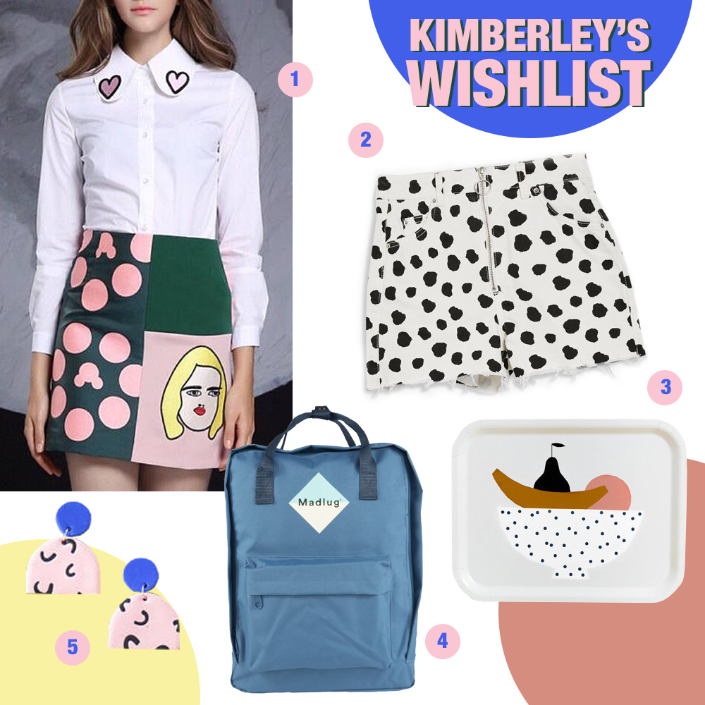 Wishlist featuring skirt by PurpleFishBowl, shorts by Topshop, tray by Depeapa, backpack by Madlu and earrings by Baked by Lou