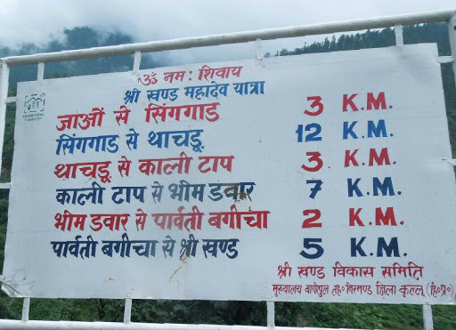 Distance of various places en route Srikhand Mahadev Yatra from Jaon.