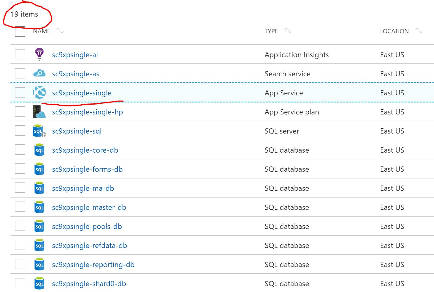 hight resolution of sitecore azure resources for xp single deployment topology