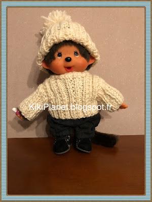 Bonnet à côtes fait main pour Kiki ou Monchhichi, tricot, handmade, vêtements, poupée