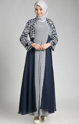 Model Gamis Batik Kombinasi Polos modis
