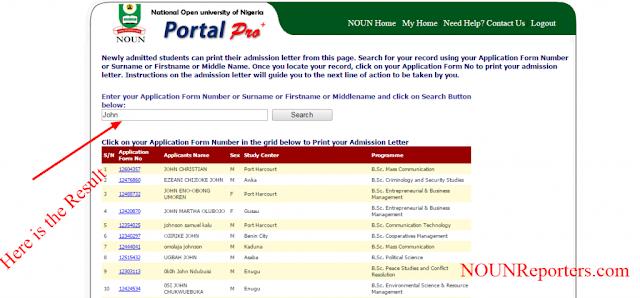 View Admission List of NOUN Nigeria