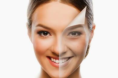 Rostro antes y después de tratamiento facial