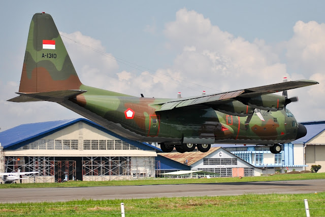 Lockheed C-130 of Indonesian Air Force Approaching Landing