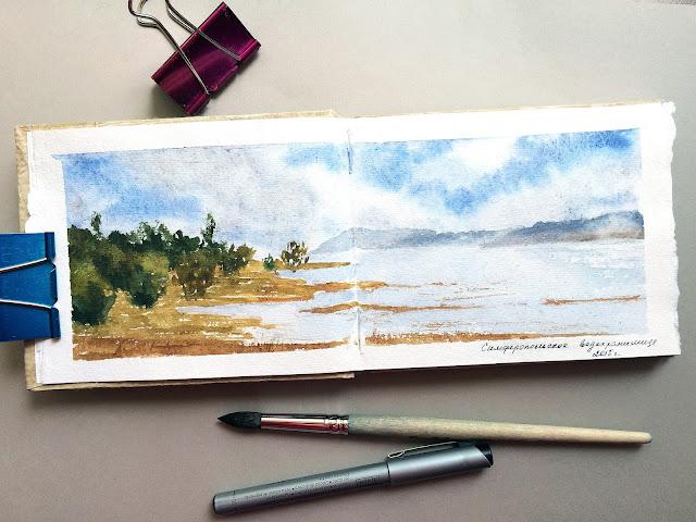 Simferopolskoye vodohranilische sketch | Blog's Inna Yakusheva