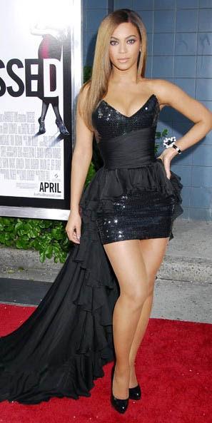 Beyonce V Neck Sequins High Low Black Prom Dresses Dpcb049