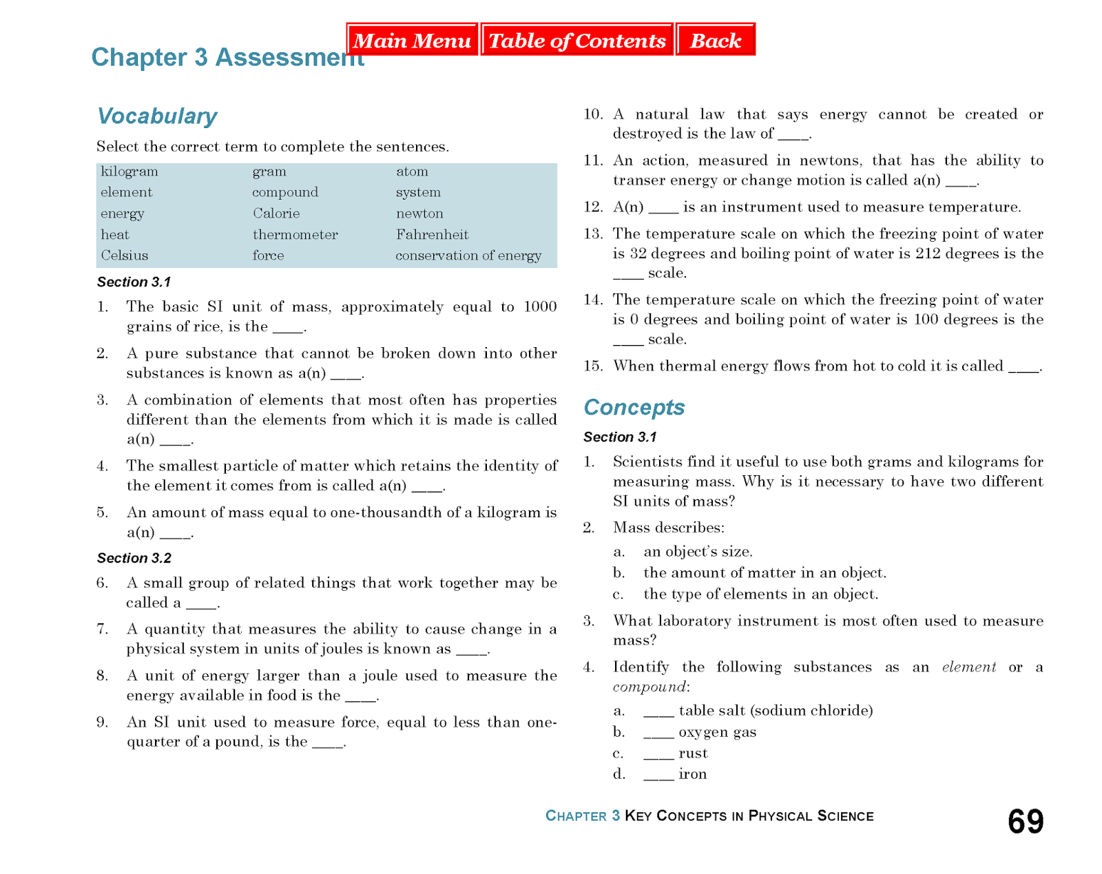 Physical Science Textbook Answer Key