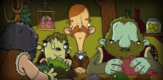 Bertram se sienta a una mesa repleta de carnes exóticas.