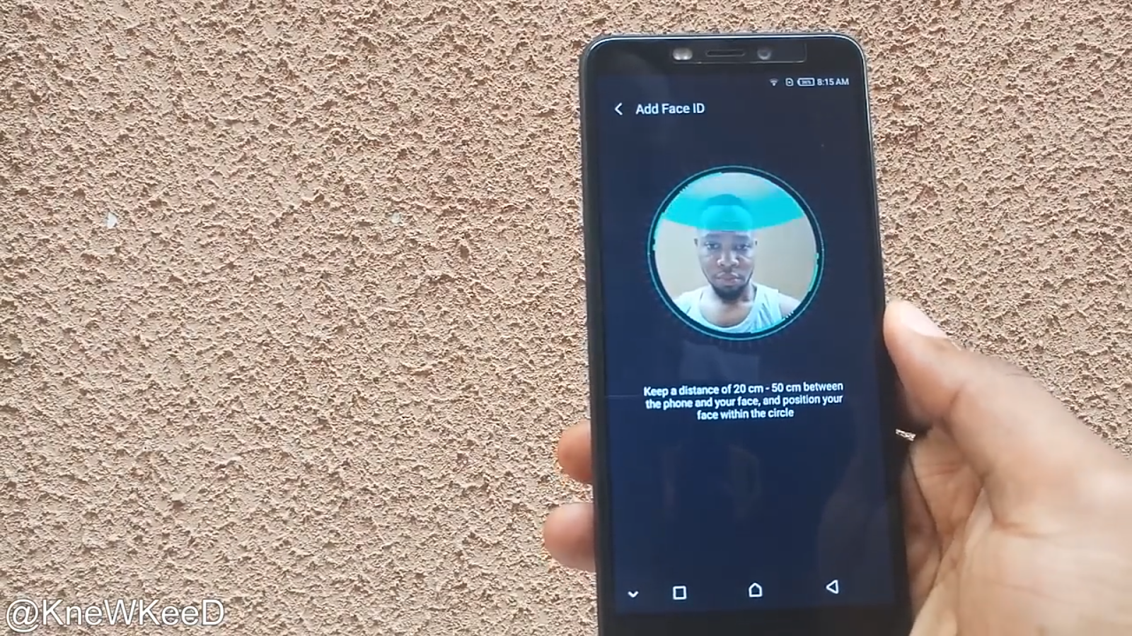 Setting up face id for the first time on the Infinix Hot S3 smart phone