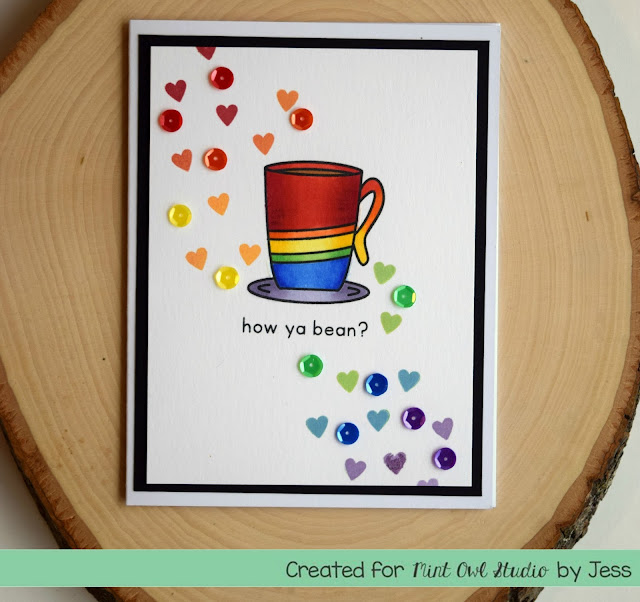 Rainbow Coffee Card by Jess Crafts for Mint Owl Studio