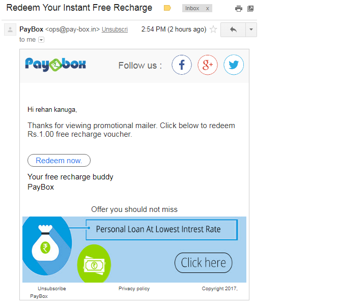 Paybox Recharge Redemption
