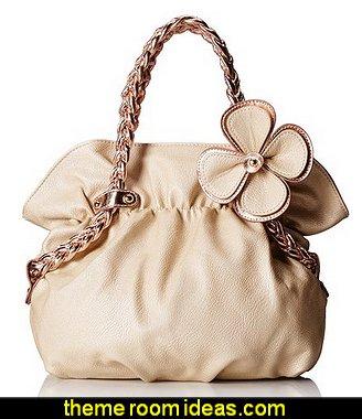 Metallic Weaved Handle Hobo Handbag
