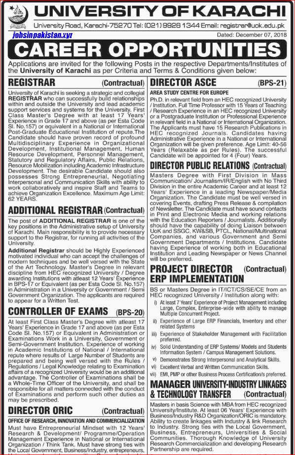 Advertisement for University of Karachi Jobs December 2018