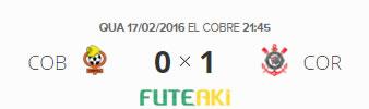 O placar de Cobresal-CHI 0x1 Corinthians pela 1ª rodada da Copa Libertadores da América 2016.