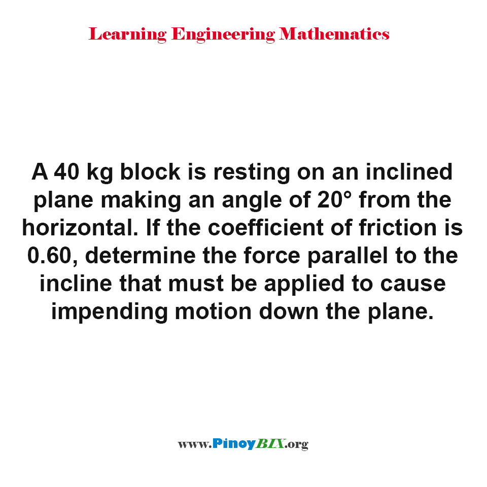 Determine the force parallel to the incline that must be applied to cause impending motion