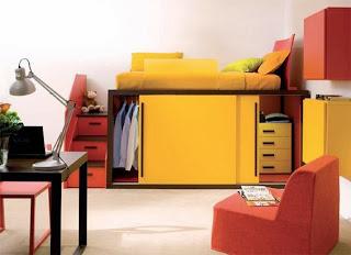 Decoración de habitación naranja amarillo