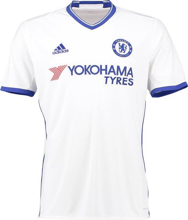 O terceiro uniforme é predominantemente branco com a gola e os punhos na  cor azul. Compre camisas do Chelsea ... 5939f241b7d22