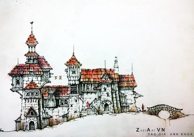 kí họa phong cảnh, diễn họa kiến trúc