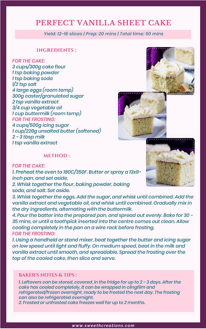 PERFECT VANILLA SHEET CAKE RECIPE