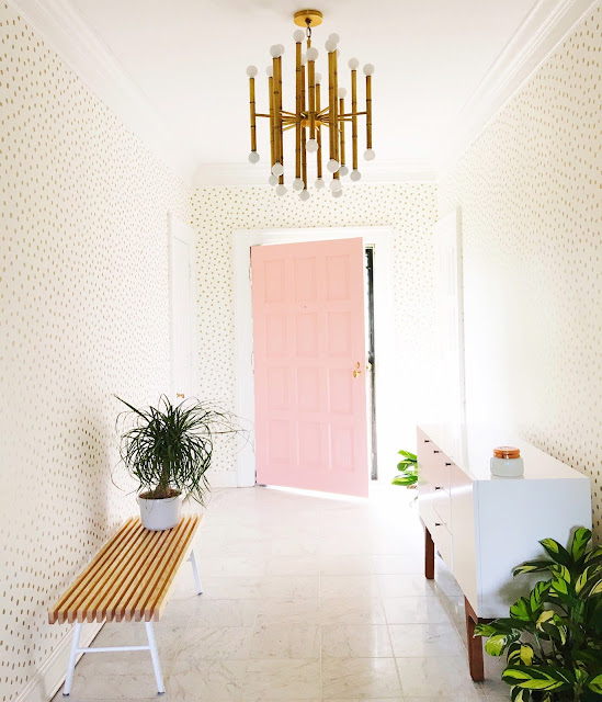 An entrance hall is often the first impression of your home, an opportunity to sweep guests off their feet. The entryway sets the tone for the rest of your home, and also serving as a uniting passage between rooms. This transitory spot is the perfect place to showcase a beautiful wallpaper like this paper we installed for a client in Nashville, TN. Isn't this so yummy and glamorous? Utilize this important entrance space to add elegant decor details that will help to elevate the overall ambiance of your home.