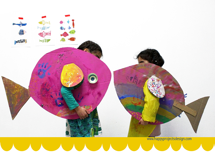 Carnaval collage: peces de colores