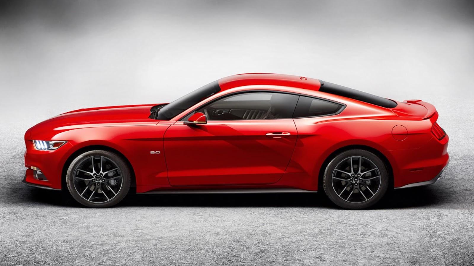 red ford mustang side view Η Ford αύξησε 20% τις Ευρωπαϊκές πωλήσεις της και έχει ήδη 12.000 παραγγελίες της νέας Mustang Ford, Ford Mustang, Ford Ranger, Ford Transit, Sales, πωλήσεις