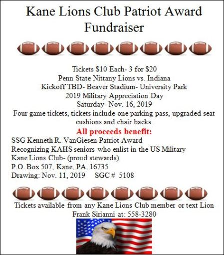11-16 Kane Lions Club Patriot Award Fundraiser