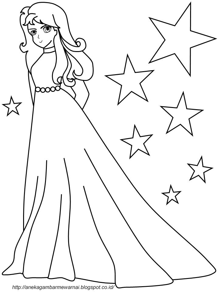 Gambar Mewarnai Perempuan Cantik Untuk Anak PAUD dan TK 1