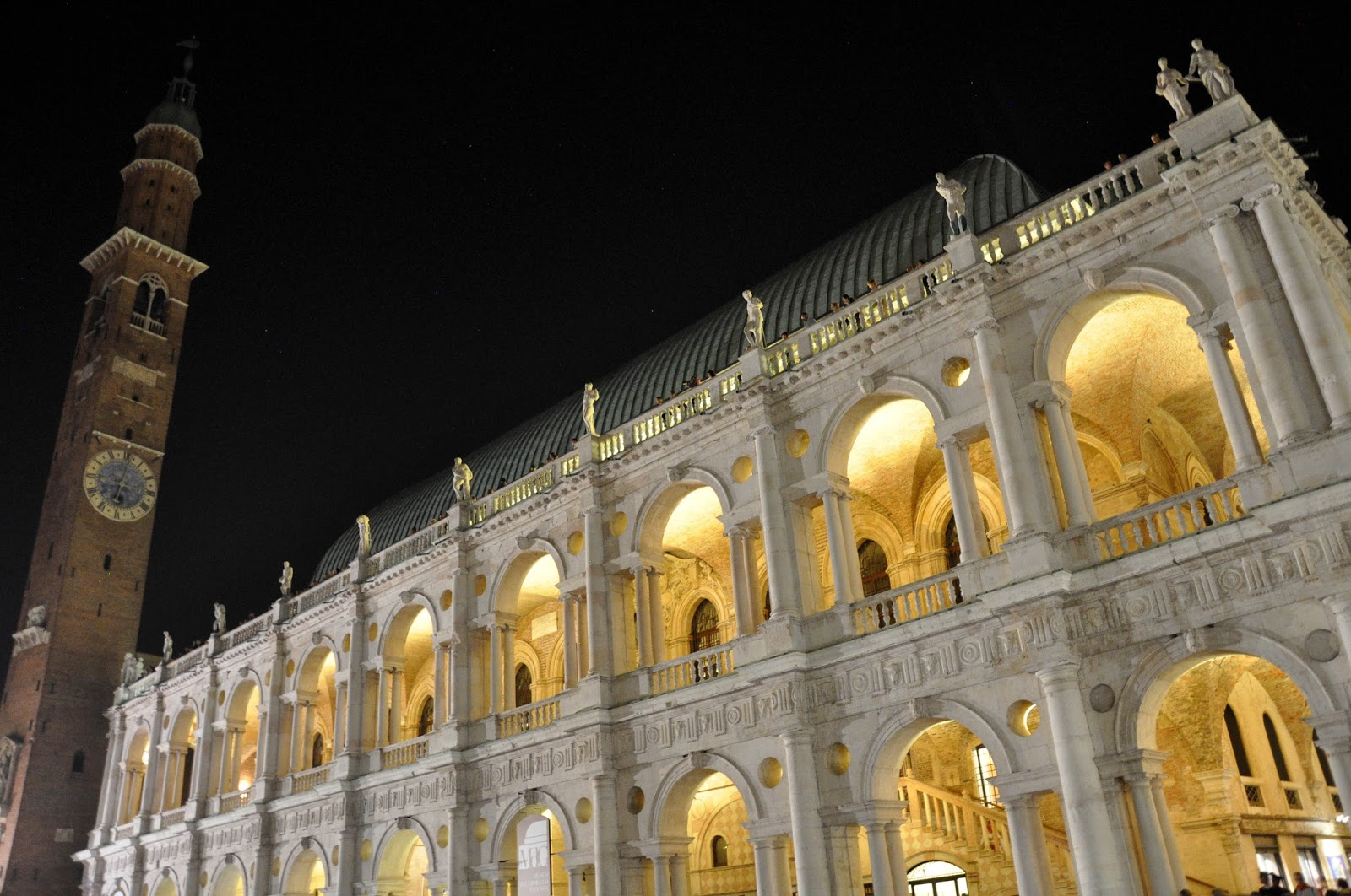 Palladio's Basilica illuminated at night, Vicenza, Italy
