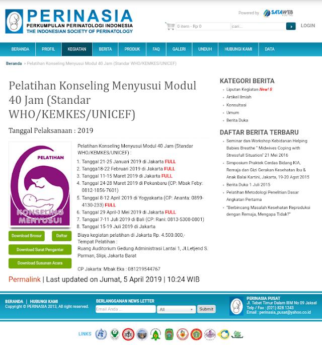 Pelatihan Konseling Menyusui Modul 40 Jam (Standar WHO/KEMKES/UNICEF)-PERINASIA (Bali 7-11 Juli 2019) (Jakarta 15-19 Juli 2019)