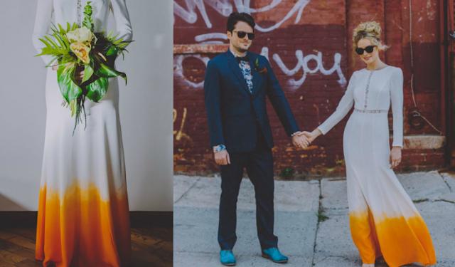 vestido de novia con color naranjo