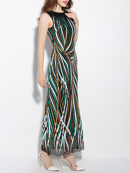 Sleeveless Glitter-finished Cocktail Maxi Dress