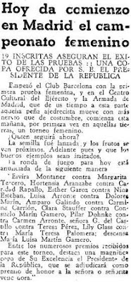 Recorte en Mundo Deportivo sobre el I Campeonato Femenino de Ajedrez, Madrid 1934