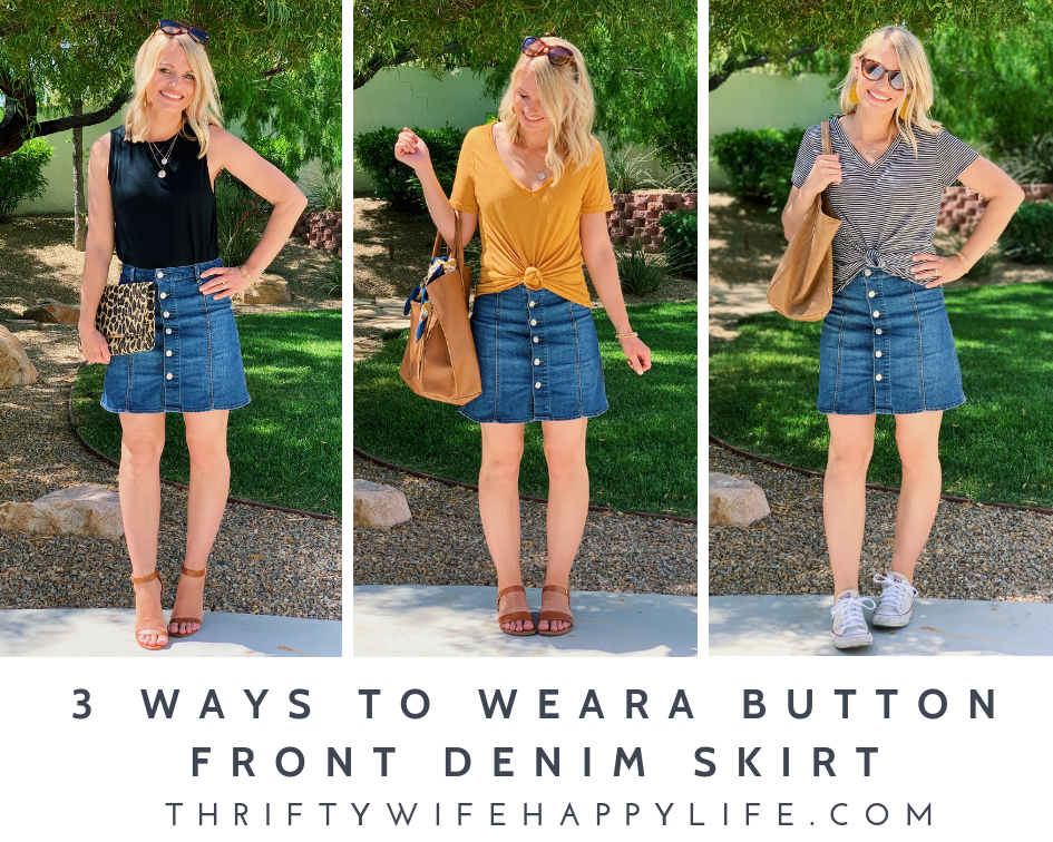 3 ways to wear a button front skirt