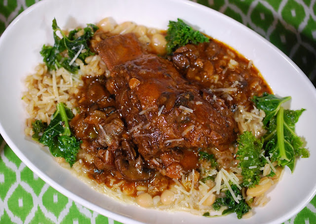 Braised Short Ribs with Mushrooms and Barley and Bean Risotto.