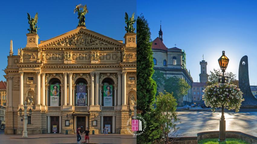 Il teatro e uno scorcio di Leopoli
