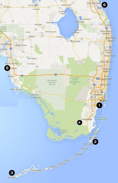 kaart rondreis Florida